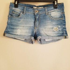 Zara Woman Distressed Cuffed Denim Shorts Size 6